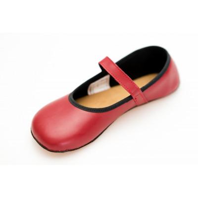 Čevlji Bare Ananda balerinke burgundy rdeče