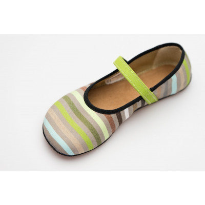 Čevlji Bare Ananda balerinke Sunbrella® zelene črte