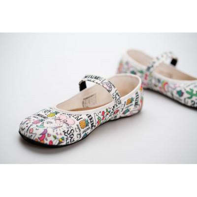 Čevlji Bare Ananda balerinke Unicorn bele
