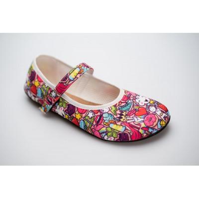 Čevlji Bare Ananda balerinke Unicorn roza