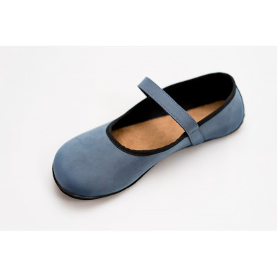 Čevlji Bare Ananda balerinke nubuk semiš modre