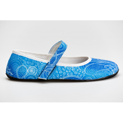 Čevlji balerinke Zentangle modre (Ananda)