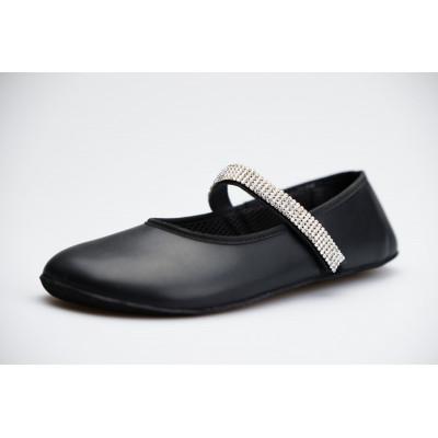 Čevlji Bare Ananda balerinke s kristali Swarowski® črne