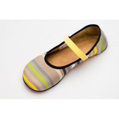Čevlji Bare Ananda balerinke Sunbrella® rumene črte
