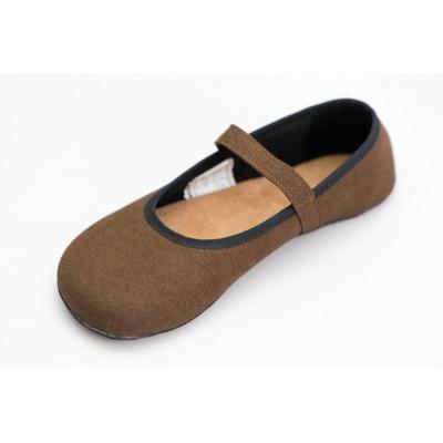 Čevlji Bare Ananda balerinke semiš rjave