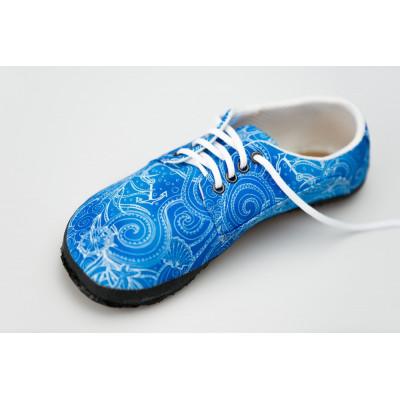 Čevlji Bare Sundara na vezalke Zentangle modri
